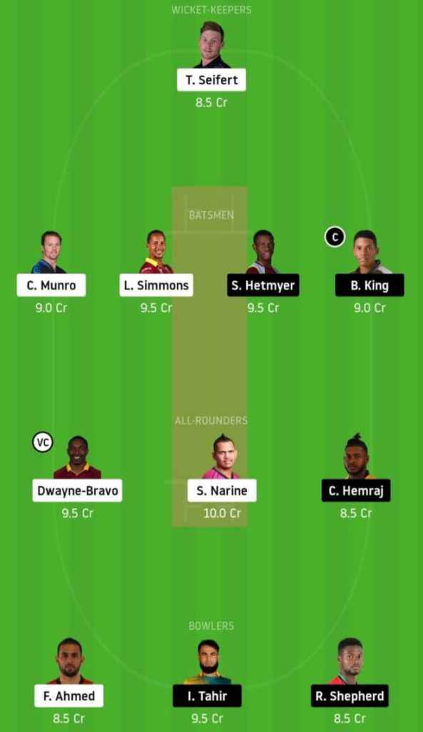 Match 1 TKR vs GUY Dream11 Team Predictions: CPL 2020