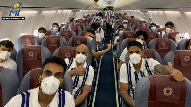 Mumbai Indians team in a charted flight to UAE