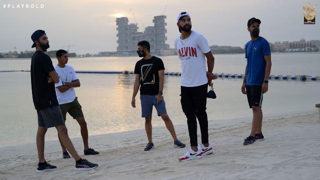 Royal Challengers Bangalore at Dubai beach enjoying the sunset