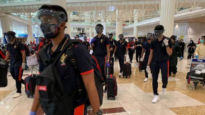 Royal Challengers Bangalore team at Dubai International Airport