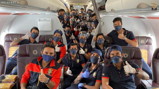 Royal Challengers Bangalore team in a charted flight to UAE