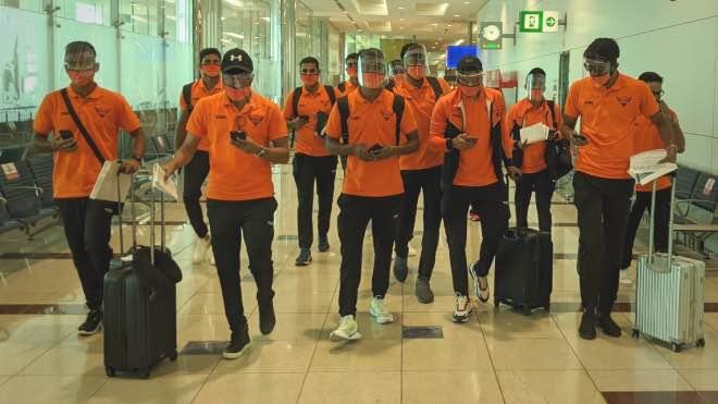 Sunrisers Hyderabad at Dubai International Airport after touchdown
