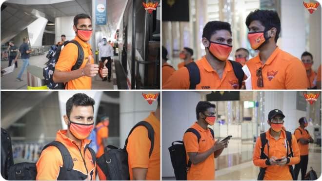 Sunrisers Hyderabad team at Dubai International Airport