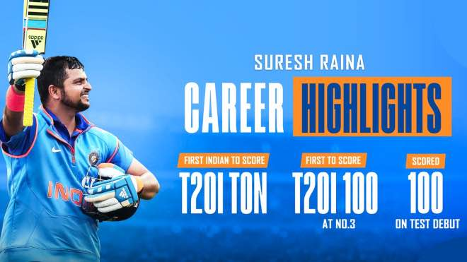Suresh Raina scored a century on Test debut and the first Indian to have hundreds in all 3 formats
