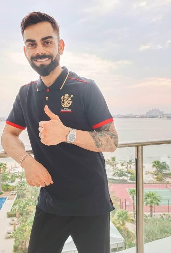Virat Kohli in his balcony at the Waldorf Astoria Dubai