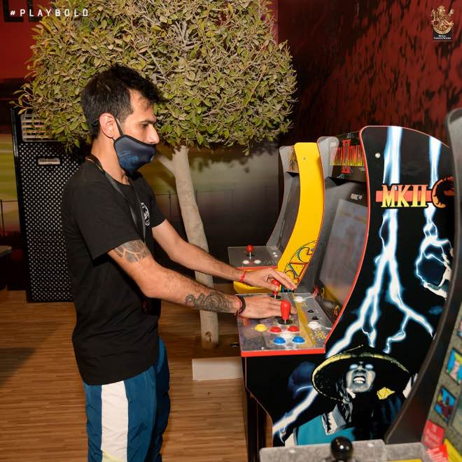 Yuzvendra Chahal enjoying on the arcade machines at the team recreation centre