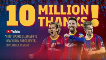 FC Barcelona becomes the first club in the world to cross 10 million Youtube subscribers
