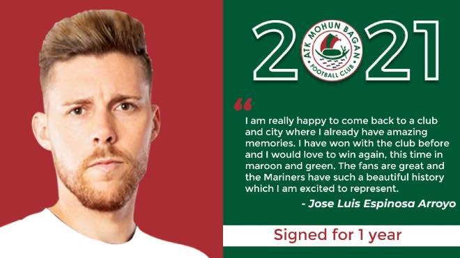Jose Luis Espinosa Arroyo said after the signing for ATK Mohun Bagan FC