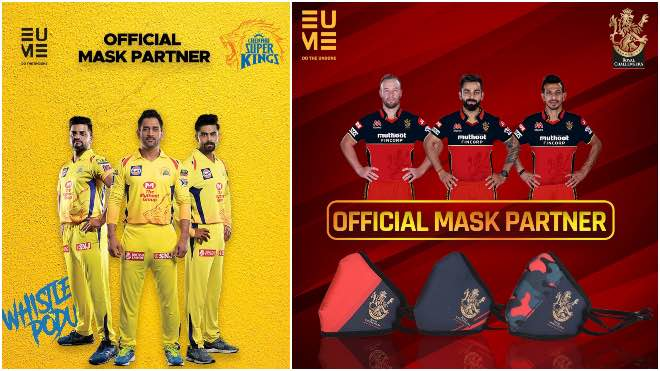RCB and CSK ropes in EUME as Official Mask Partner for IPL 2020