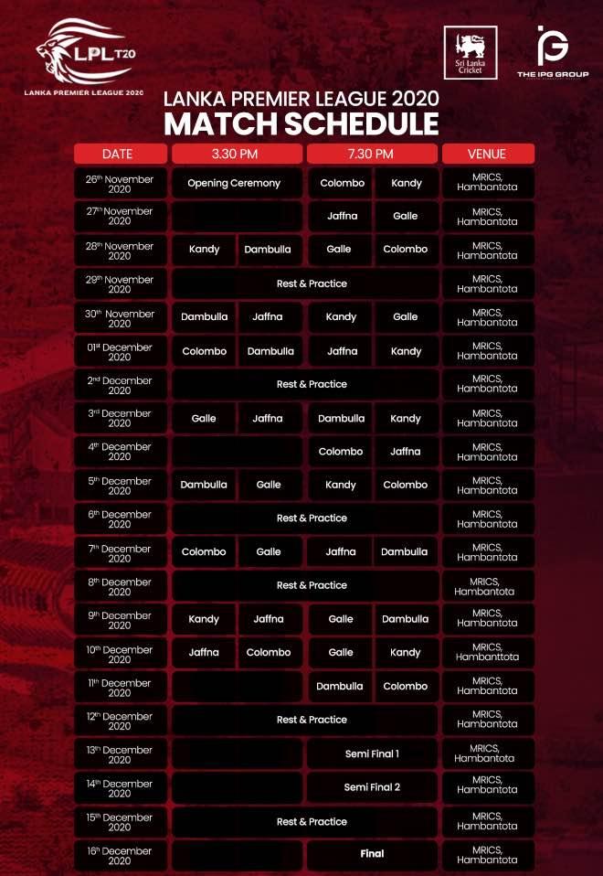 LPL 2020: Lanka Premier League 2020 revised schedule