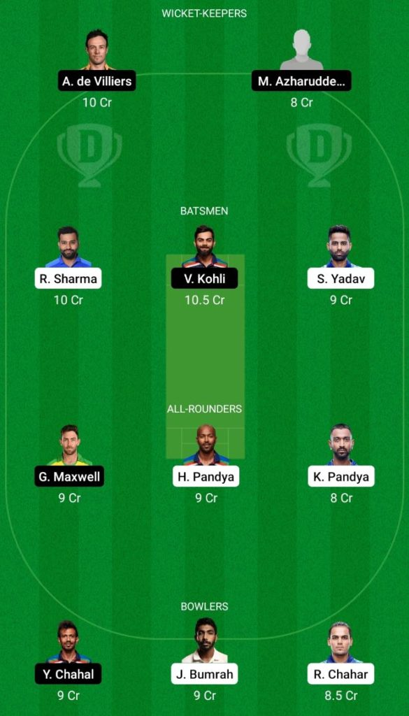 IPL 2021 Match 1 MI vs RCB Dream11 Team Prediction, Playing XI, Top Picks, Captain and Vice-captain