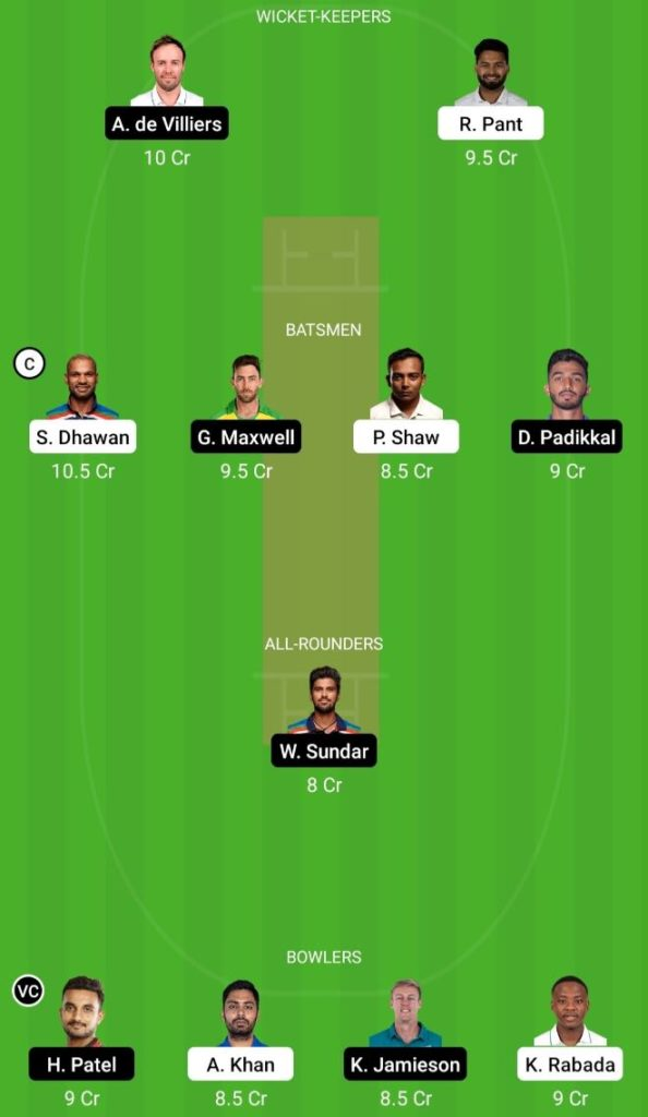 IPL 2021 Match 22 DC vs RCB Dream11 Team Prediction, Playing XI, Top Picks, Captain and Vice-captain