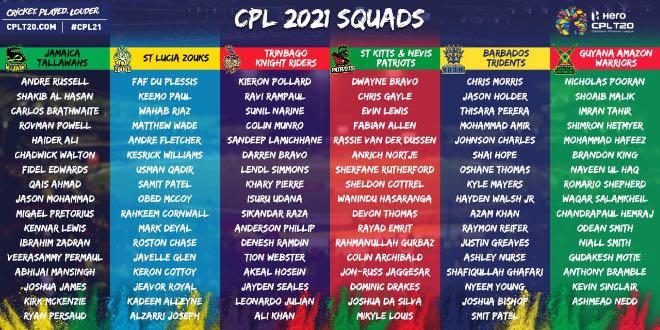 CPL 2021 Full squads: Caribbean Premier League 2021 players list