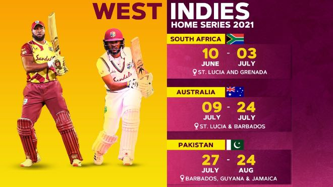 West Indies to host South Africa, Australia and Pakistan in summer home season