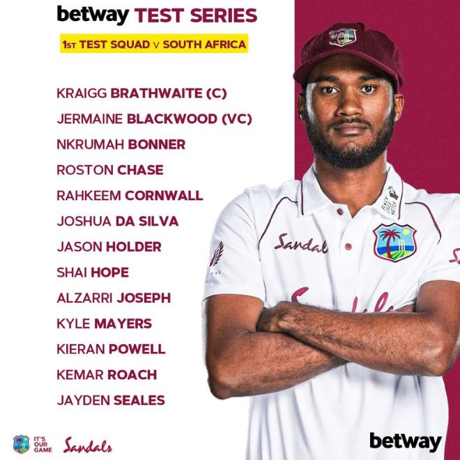 West Indies squad for 1st Test against South Africa:2021