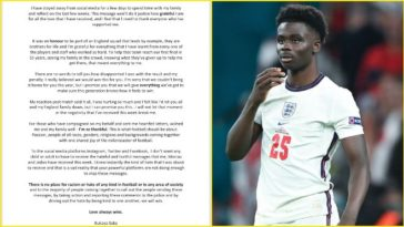 Bukayo Saka writes an emotional letter about the 'racism' he had to face