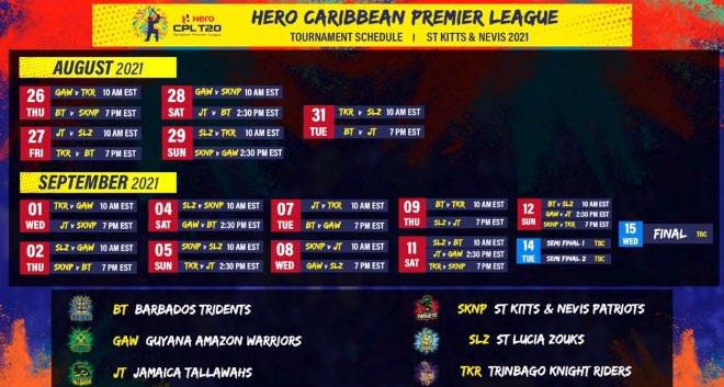 Caribbean Premier League 2021 Schedule