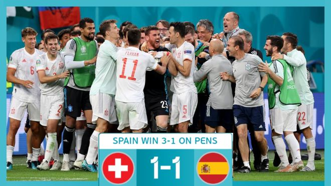 UEFA Euro 2020: Spain beat resilient Switzerland on penalties to advance to the final four