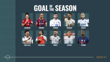 UEFA Goal of the Season Paul Pogba's stunner, Patrik Schick's long ranger and Taremi's overhead all make the cut