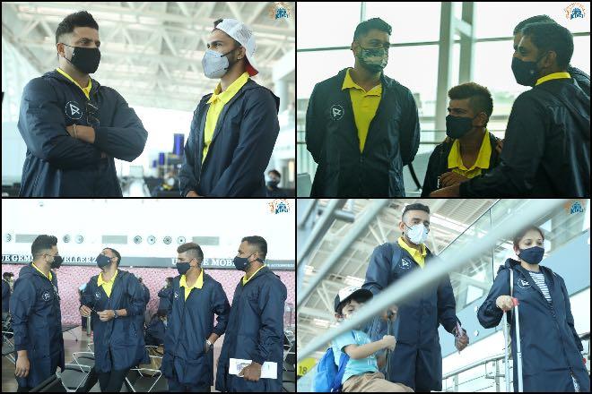 Chennai Super Kings at Chennai Airport before departure