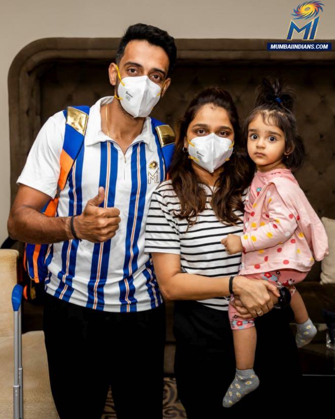 Dhawal Kulkarni with his family after landing in Abu Dhabi