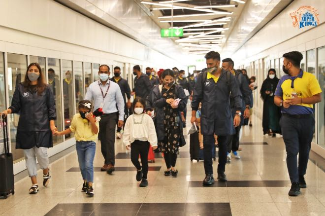 MS Dhoni and co at Dubai International Airport