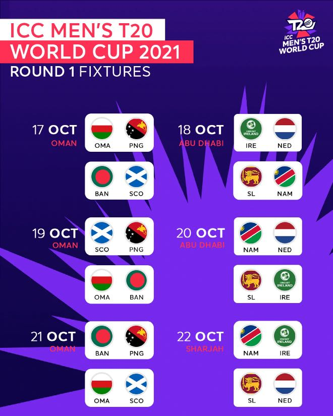 T20 World Cup 2021 Round 1 Fixtures