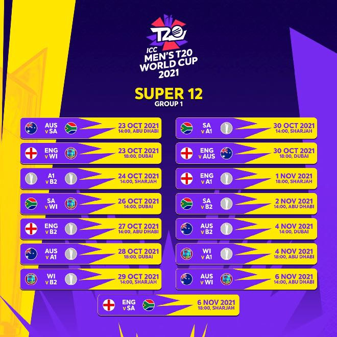 T20 World Cup 2021 Super12 Group 1 Fixtures