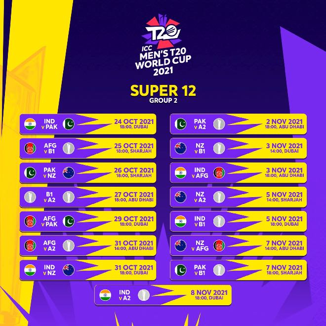 T20 World Cup 2021 Super12 Group 2 Fixtures