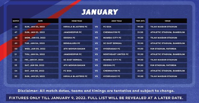ISL 2021-22 January fixtures